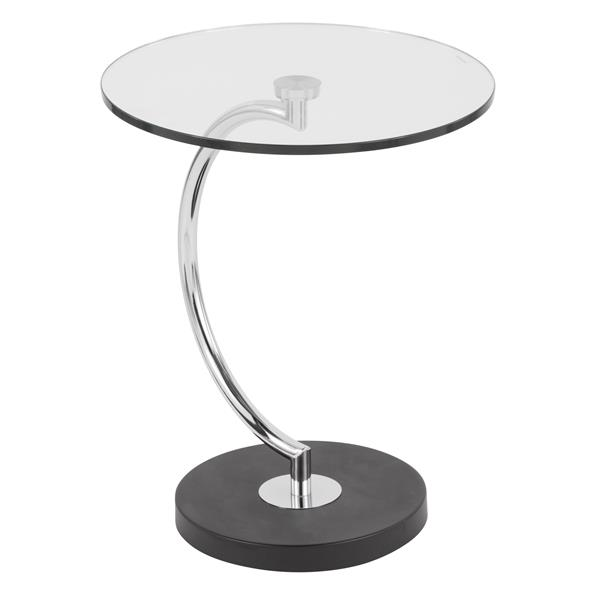 Lumisource 12-in x 18-in x 22-in Stainless Steel C-Shaped Glass Table