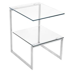 """Table d'appoint 6G, 19"""" x 19"""" x 22,5"""", verre"""