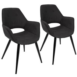 Lumisource Mustang Black Mid-Century Modern Accent Chair (Set of 2)