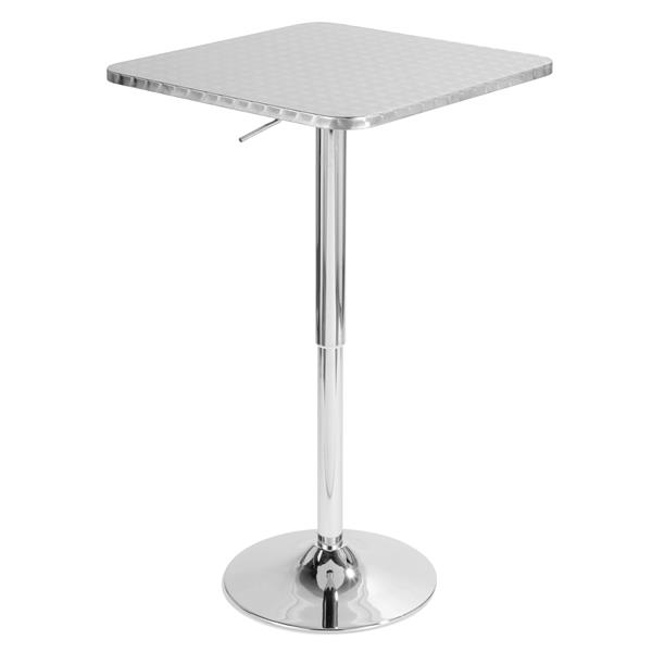 "Table de bar Bistro, 25,5"" x 25,5"" x 41"", métal, argent"