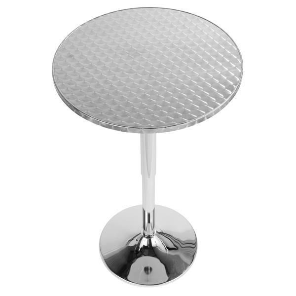 """Bistro table de bar, 25,5"""" x 25,5"""" x 41"""", acier inoxydable"""