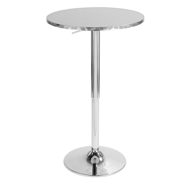 Lumisource Bistro 25.5-in x 25.5-in x 41-in Stainless Steel Round Pub Table