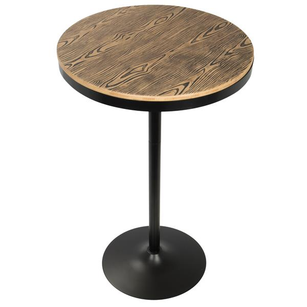Lumisource Dakota 27-in x 27-in x 43-in Wood Black Adjustable Bar Table