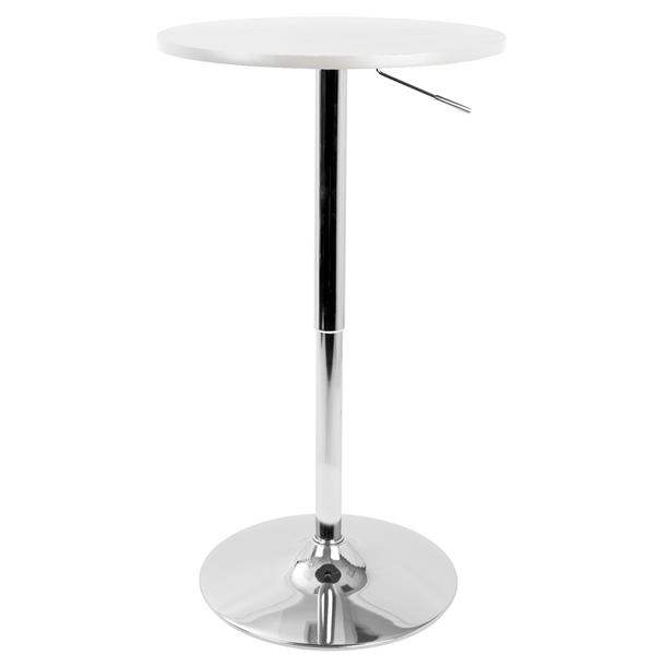 Lumisource 23.5-in x 23.5-in x 41-in White Adjustable Pub Table