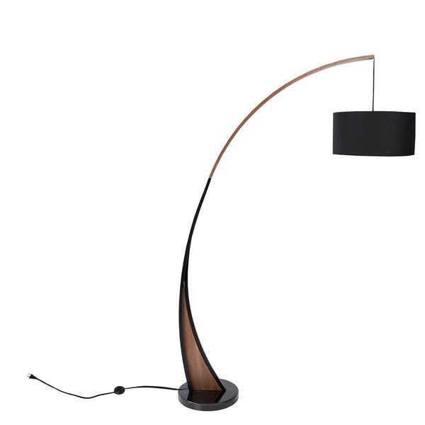 Lumisource Noah 77-in Black and Walnut Floor Lamp