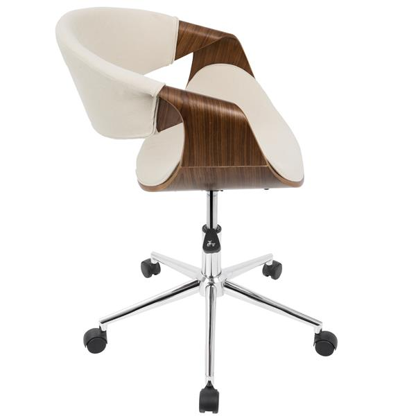 """Chaise de bureau Curvo, 21,5"""" x 17"""", bois, noyer et crème"""