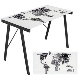 "Bureau Printed Table,  44,5"" x 28,75"", verre trempé, noir"