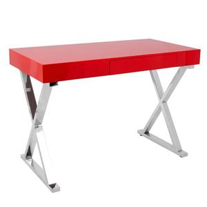 Lumisource Luster 21.75-in x 43.25-in x 26-in Red Wood Desk