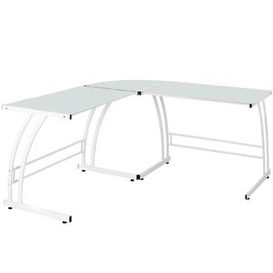 Lumisource Gamma 40-in x 70-in x 30-in White and Glass Computer Desk
