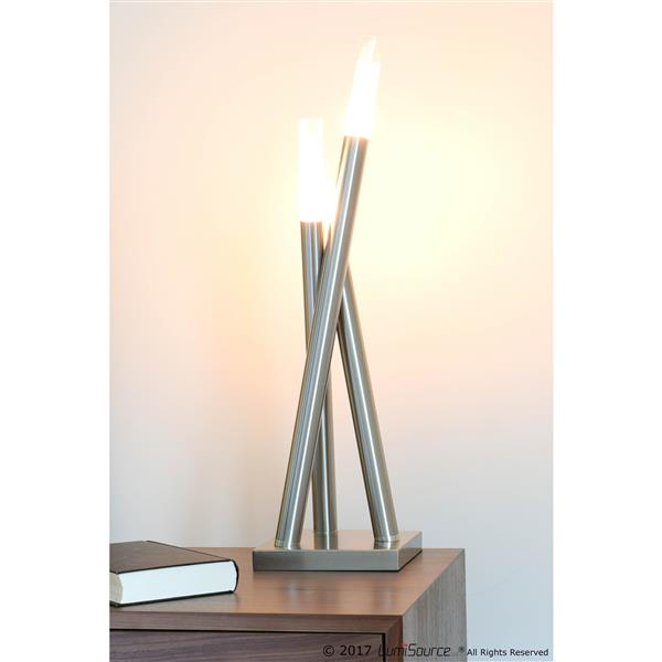 Lumisource Icicle 1.25-in x 25.5-in with Brushed Nickle Base and Frosted Shades Table Lamp