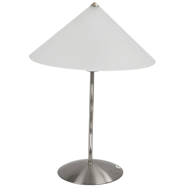 Lumisource Doe Li Touch 14-in x 19-in with Brushed Nickle Base and Satin Glass Shade Table Lamp