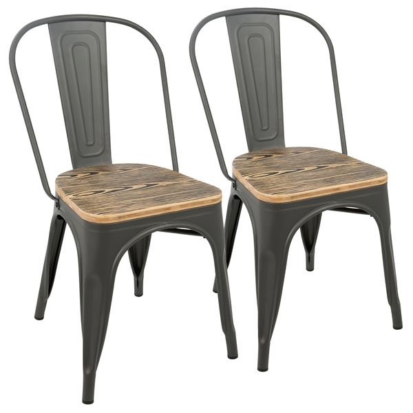 Lumisource Oregon 17.25-in x 32.25-in Gray Dining Chair (Set of 2)