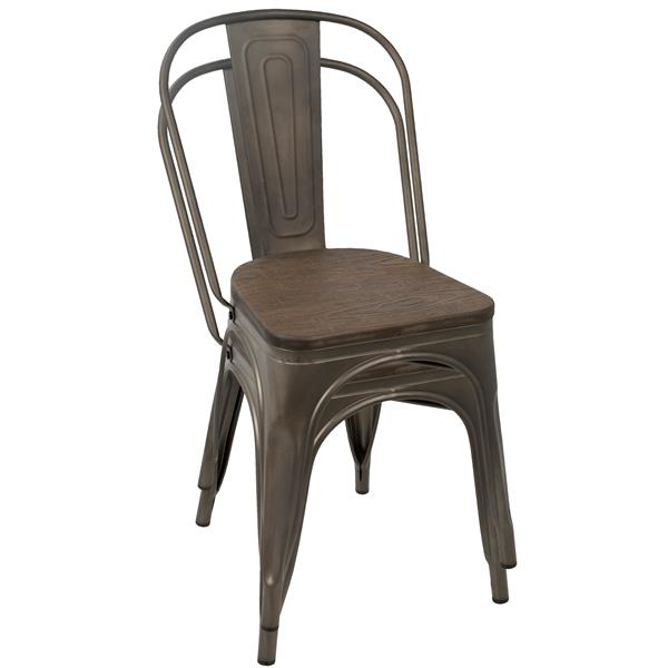 Lumisource Oregon 17.25-in x 32.25-in Espresso Dining Chair (Set of 2)