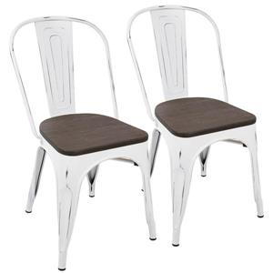 Lumisource Oregon 17.25-in x 32.25-in White Dining Chair (Set of 2)