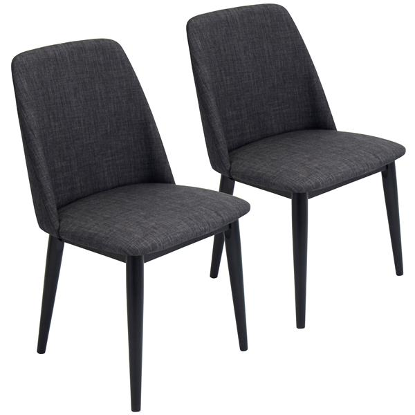 Lumisource Tintori 19.75-in x 33-in Black Dining Chair (Set of 2)