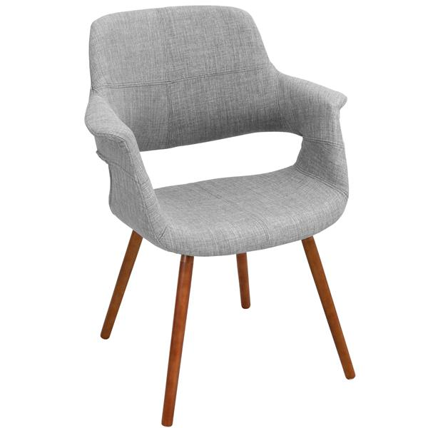 Lumisource Vintage Flair 25.75-in x 33-in Gray Polyester Dining Chair