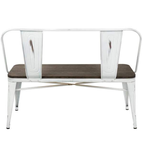 Lumisource Oregon 42-in White and Espresso Wood Bench