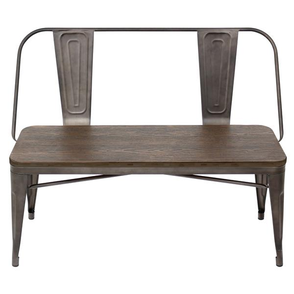 Lumisource Oregon 42-in Brown and Espresso Wood Bench