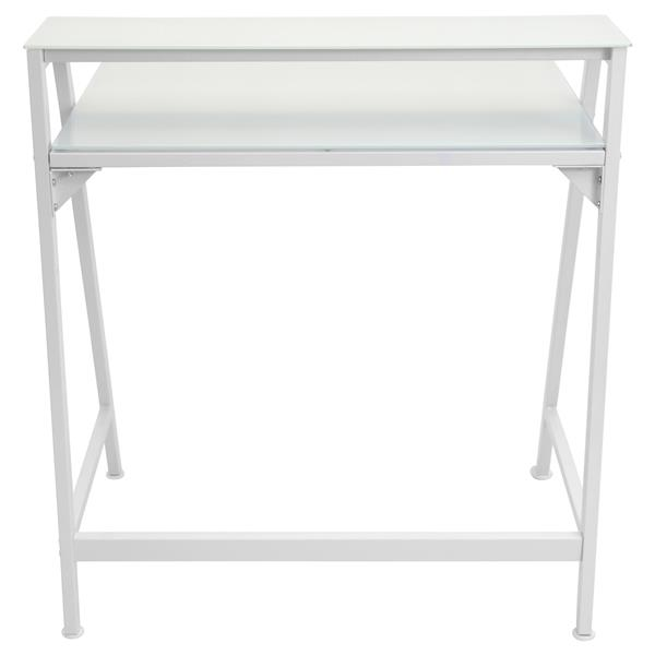 "Bureau d'ordinateur 2-Tier, 29,75"" x 31"", métal, blanc"
