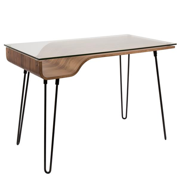 Lumisource Avery 23-in x 44.5-in x 31-in Black and Walnut Desk