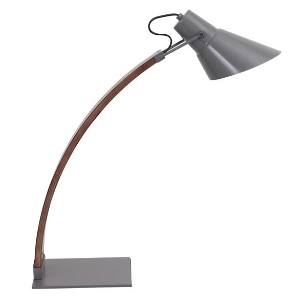 Lumisource Noah 5.25-in x 22.25-in with Grey Metal Base,Walnut Wood Arm and Grey Metal Shade Table Lamp