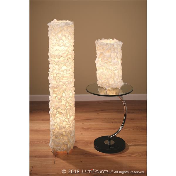 """Lampe de table Lace, 10"""" x 18"""", soie, blanc cassé"""
