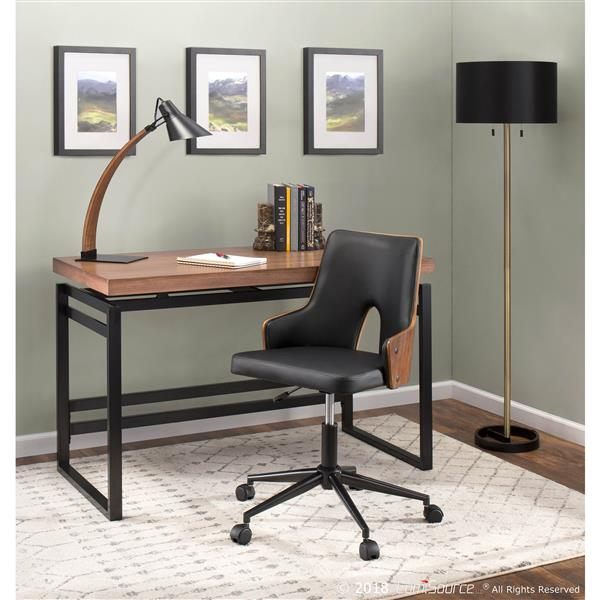 Lumisource Noah 5.25-in x 22.25-in with Black Metal Base,Walnut Wood Arm and Black Metal Shade Table Lamp