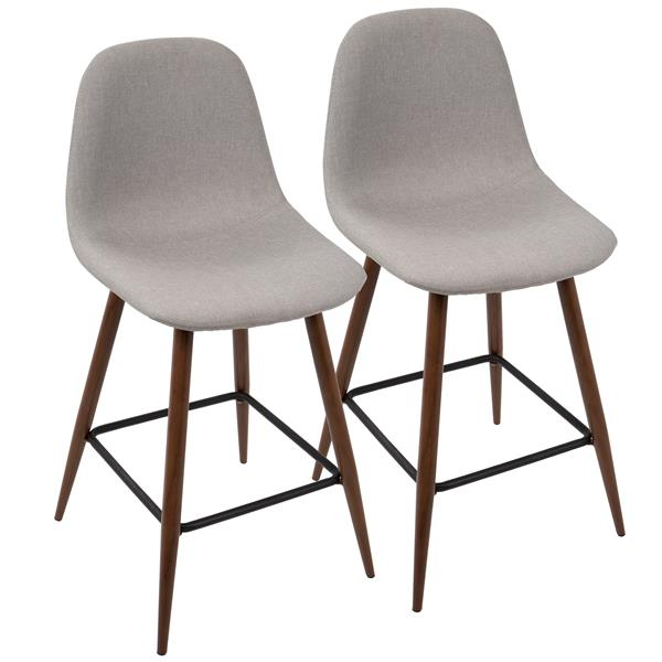 Lumisource Pebble Grey Stool 20-in x 17.25-in x 21.75-in (Set of 2)