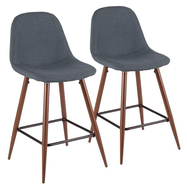 Lumisource Pebble Blue Stool 20-in x 17.25-in x 21.75-in (Set of 2)