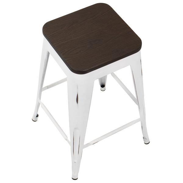 Lumisource Oregon Wood Stools 16.5-in x 24.25-in (Set of 2)