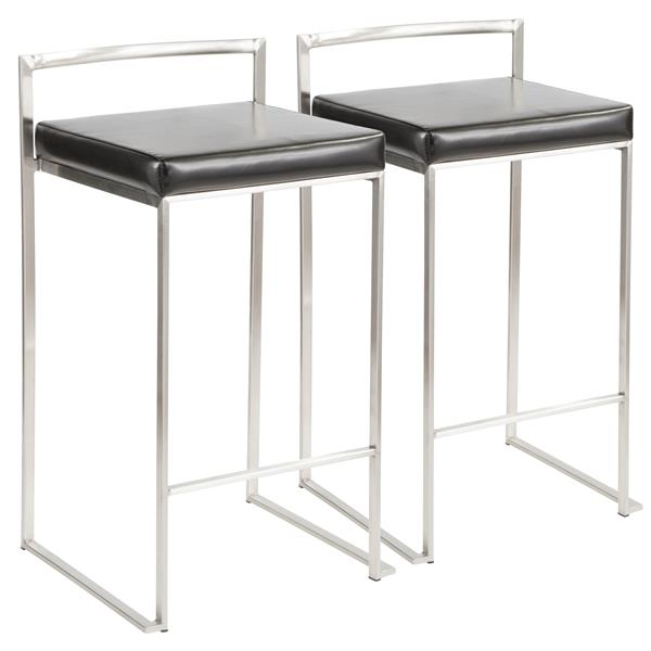 Lumisource Fuji Stacker Faux Leather 17.5-27-in Black Bar Stools (Set of 2)