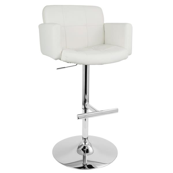 Lumisource Stout Faux White Leather Bar Stool 23-in x 24-in x 24-in