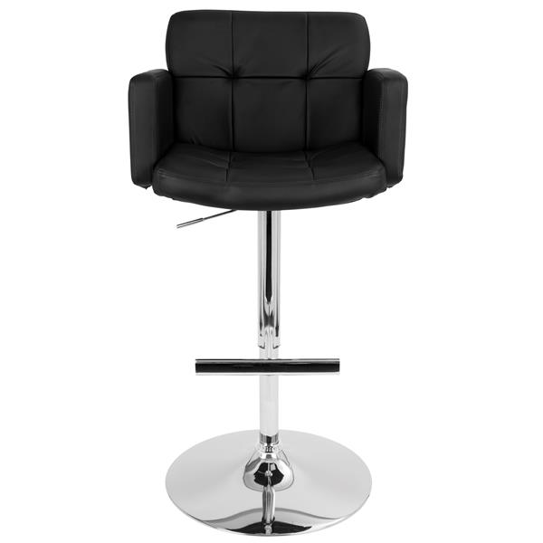 Lumisource Stout Bar Stool Faux Black Leather 23-in x 24-in x 24-in Bar Stool