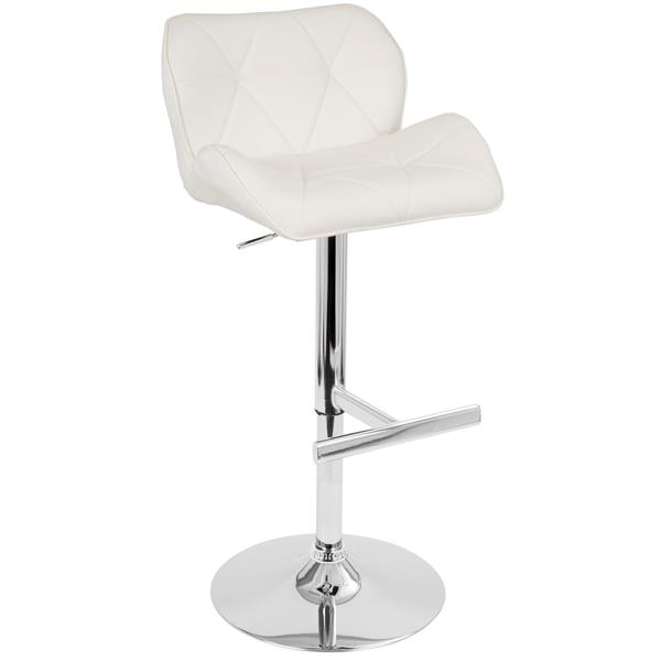 Lumisource Jubilee 22-in x 24-in Faux Leather White Barstool
