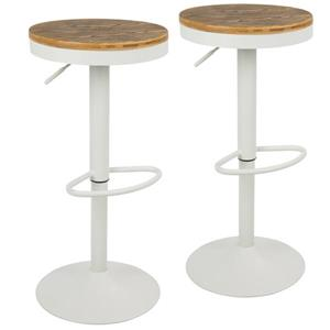 Lumisource Dakota 15-in x 23-in White Bar Stools (Set of 2)