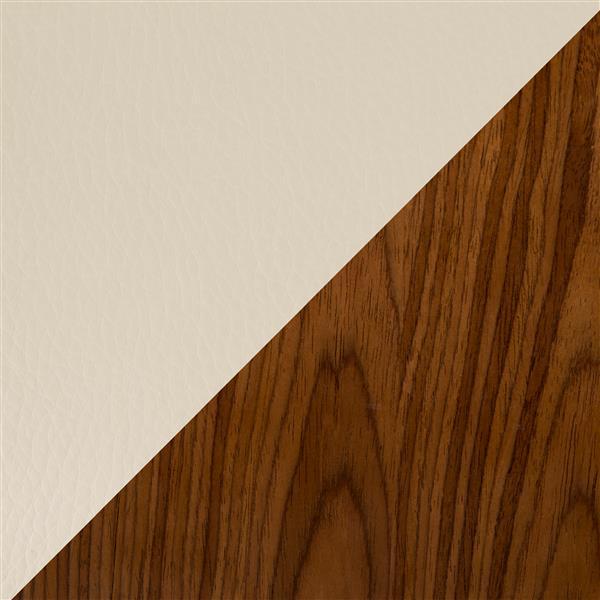 Lumisource Vasari Faux Leather Cream 14.75-in x 27.25-in Bar Stool