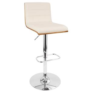 Lumisource Vasari Faux Leather Cream 14.75-in x 27.25-in Bar Stool