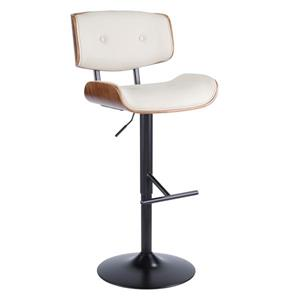 Lumisource Lombardi 19.75-in x 25-in Faux Leather Cream Barstool