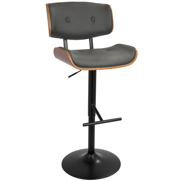 Lumisource Lombardi 19.75-in x 25-in Faux Leather Grey Barstool
