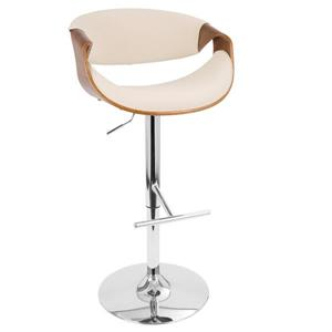 Lumisource Curvo 21.25-in x 24.25-in Polyester Cream Bar stool