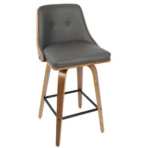 Lumisource Gianna 20-in x 18.5-in x 26-in Faux Leather Grey Barstool