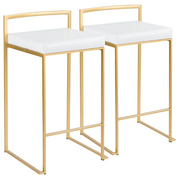 Lumisource Fuji Faux Leather Gold 17.5-in x 27-in Barstools (Set of 2)