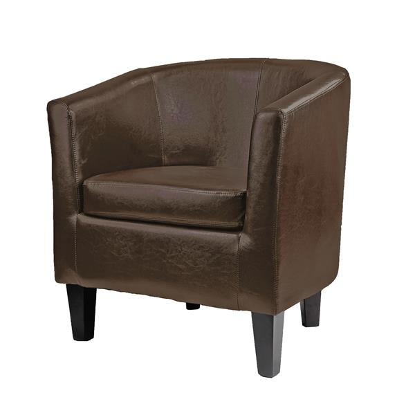CorLiving Antonio Matte Dark Brown Bonded Leather Tub Chair