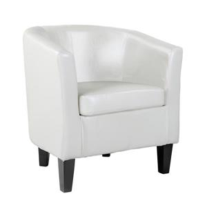 CorLiving Tub Chair - Bonded Leather - White