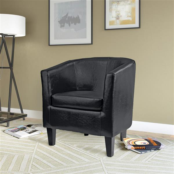 CorLiving Antonio Bonded Black Leather Tub Chair