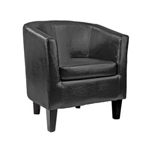 CorLiving Antonio Bonded Black Leather Tub Chair