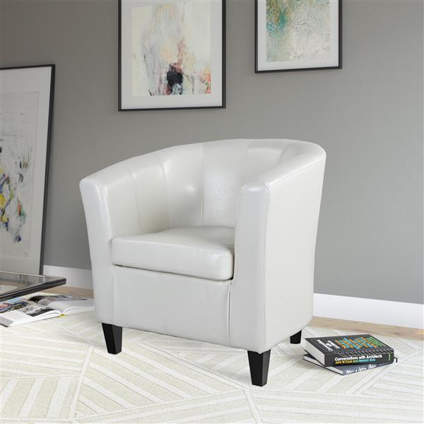 CorLiving Antonio Cream White Bonded Leather Tub Chair
