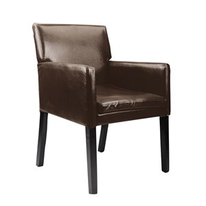 CorLiving Antonio Dark Brown Bonded Leather Accent Chair