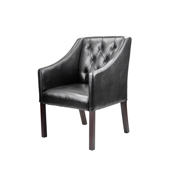 CorLiving Antonio Bonded Black Leather Accent Club Chair (Set of 2)
