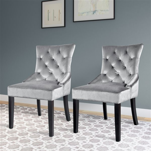 CorLiving Antonio Light Grey Velvet Accent Chair (Set of 2)